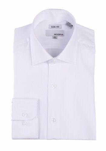 Mens 15.5 32//33 Slim Fit White Tonal Chevron Check Spread Collar Cotton Blend...