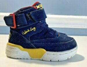 Patrick-Ewing-33-Hi-Navy-Blue-yellow-Red-Size-6-toddler-suede-DEADSTOCK
