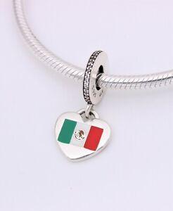 Details about NEW Exclusive! Authentic PANDORA Love Mexico Flag Heart  Dangle Charm w/ Pouch