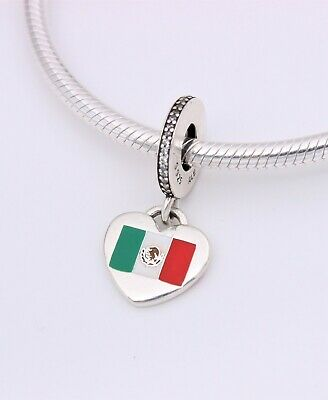 NEW Exclusive! Authentic PANDORA Love Mexico Flag Heart Dangle Charm w/  Pouch | eBay