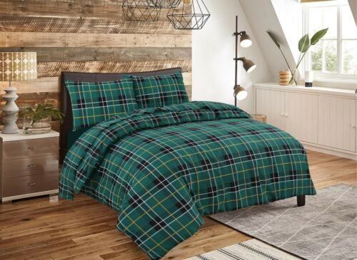 Tartan Check Flannel 100/% Brushed Cotton Duvet Quilt Cover Bedding Sets All Size