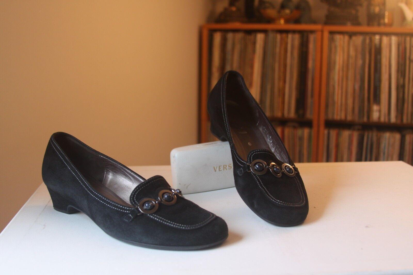 Gabor Fashion Black Suede 1 3 8 Inch Heel Loafers Pumps UK SZ 6 US SZ 8.5 Appx.