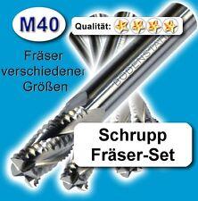 Schrupp FräserSet D=6+8+10+12mm Schaftfräser Edelstahl Alu Messing Kunstst. M40
