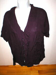New-Womens-Express-Top-M-Dark-Purple-Small-Nice-Work-School-Blouse-SS-Viscose
