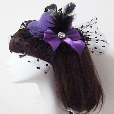 Bow Hair Clip Feather Lace Fascinator Burlesque Party Mini Top Hat Punk Dress