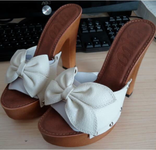 Zapatilla de plataforma con lazo para mujer Puntera abierta Tacones Bloque De Bloque Tacones De Alto Zapatos De Ocio Grueso 513ae9