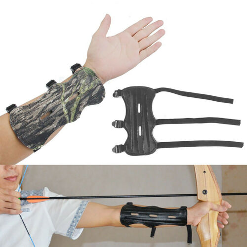 Archery Arm Guard Leather 3 Strap Shoot Armband Recurve Bow String Safety Gear