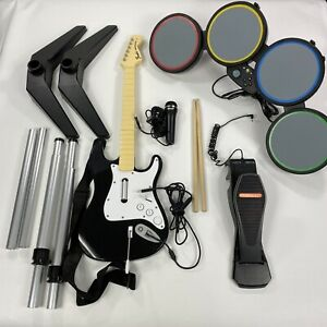 Xbox-360-Rock-Band-Guitar-Hero-Bundle-Drum-Set-w-Foot-Pedal-Microphone-Sticks
