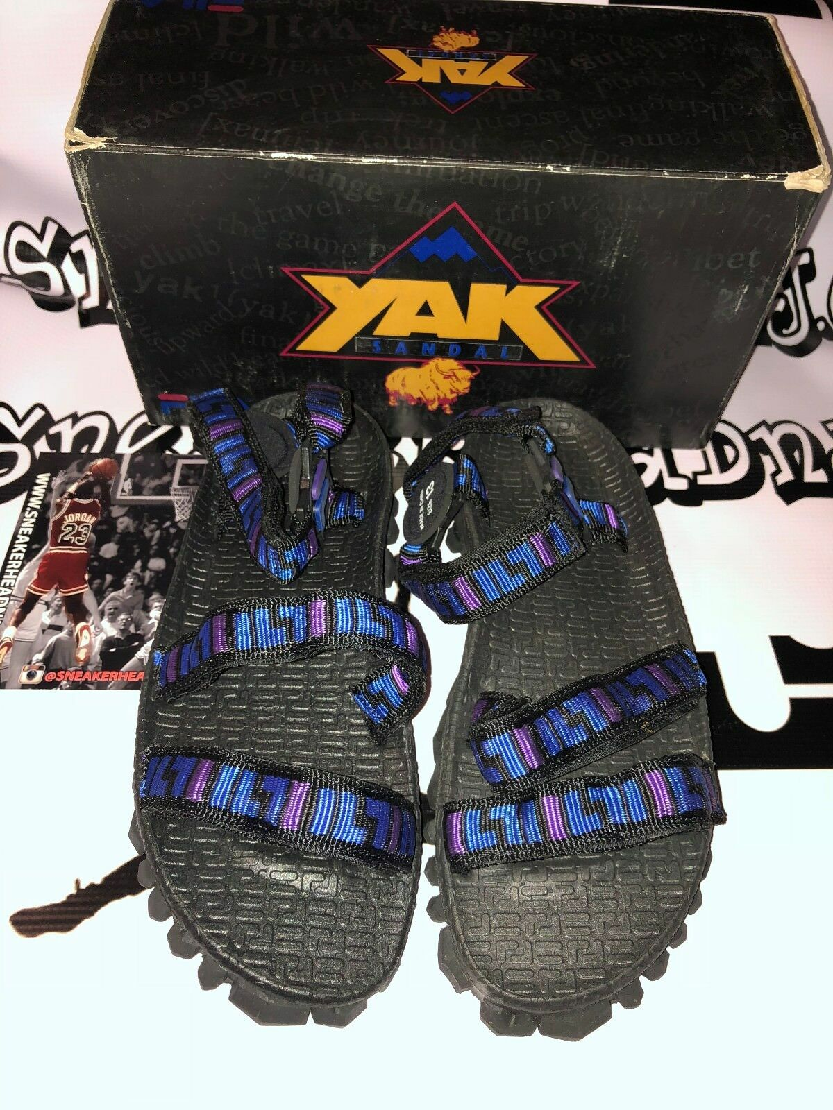 Vintage Blue Fila Men's Yak Sandal Black Blue Vintage Purple 101593-K Sizes 9-13 76c560