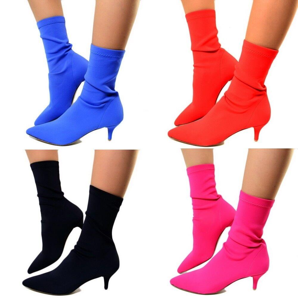 Womens Sock Effect Ankle boots elasticated sock Elegant Heel Rock 65