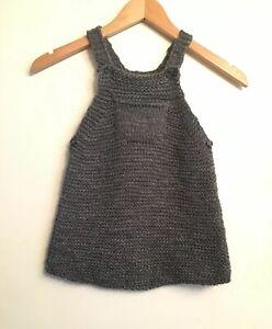 22f0c90f NWT Zara Baby Girl Knitwear Gray Knit Sweater Jumper Dress Size 2-3 ...