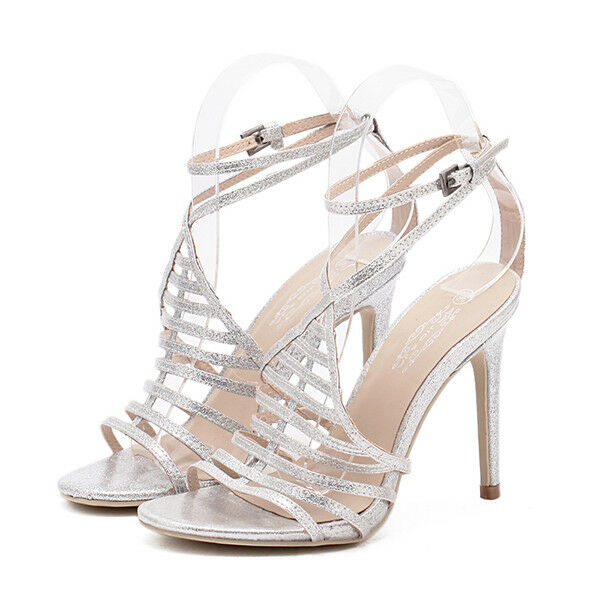 Sandali eleganti tacco stiletto 11 cm argent pelle sintetica eleganti 9830