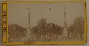 Parigi Colonnes Dei Palmiers Châtelet Francia Foto Stereo Vintage Albumina c1870