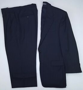 Hickey-Freeman-40R-Blue-Pinstriped-Suit-Mens-Wool-Madison-K837M-K104-2-Button-Sz