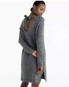 J-Crew-womens-Small-Sweater-Dress-Gray-Alpaca-Wool-Ribbed