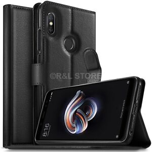 COVER-per-Xiaomi-Redmi-Note-5-CUSTODIA-PORTAFOGLIO-in-PELLE-Nero-Leather-CASE