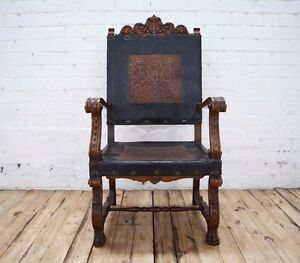 Superieur Image Is Loading Antique Louis XIII French Medieval Gothic Throne Style