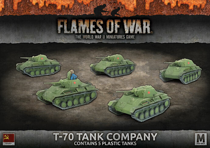 BATTLEFRONT MINIATURES FLAMES OF WAR  T-70 TANK COMPANY SBX55