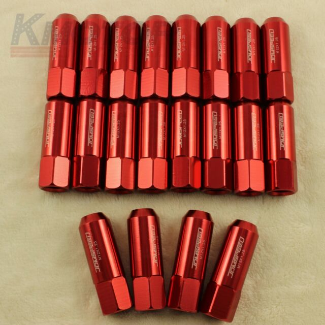 RED JDMSPEED 20PCS 12X1.25MM 60MM EXTENDED FORGED ALUMINUM TUNER RACING LUG NUT