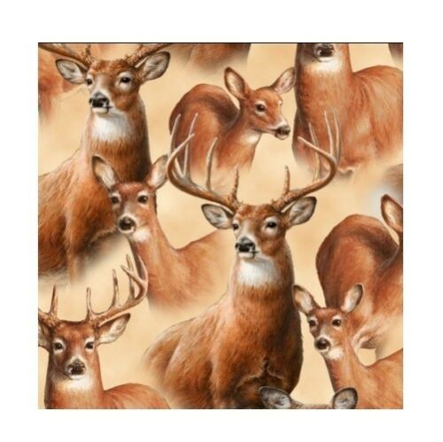 QT Quilting Treasures YARD Deer Mountain Portrait Tan Country Rustic Fabric