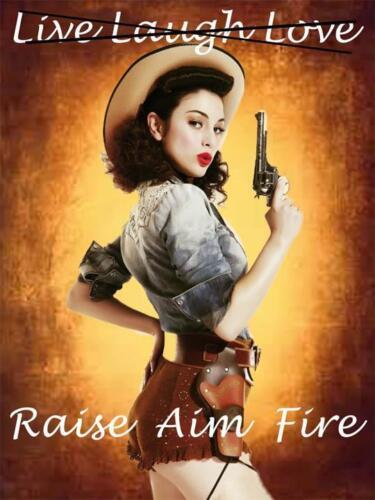 Raise-Aim-Fire Pin-Up Gun Metal Sign