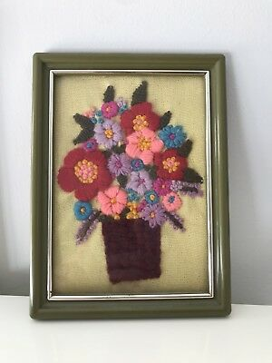 Vtg CREWEL Embroidery 70s Stitchery FRAMED FLORAL Bouquet Kitsch Needlepoint Art