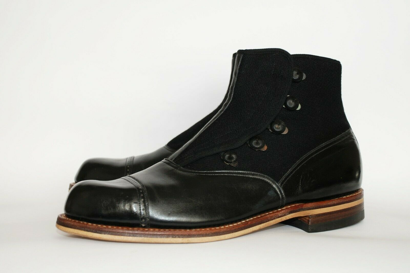 STUNNING PAIR OF ORIGINAL 1930S BLACK LEATHER AND… - image 2