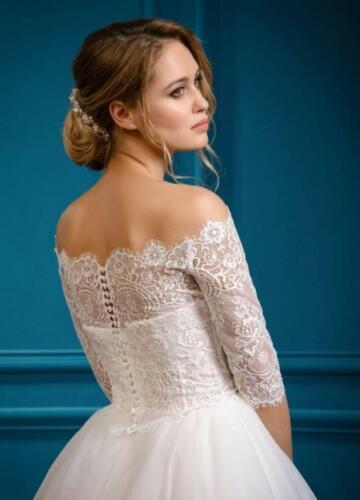Lace Wedding Jacket Bolero White Ivory Off the Shoulder Topper 3//4 Sleeve Custom