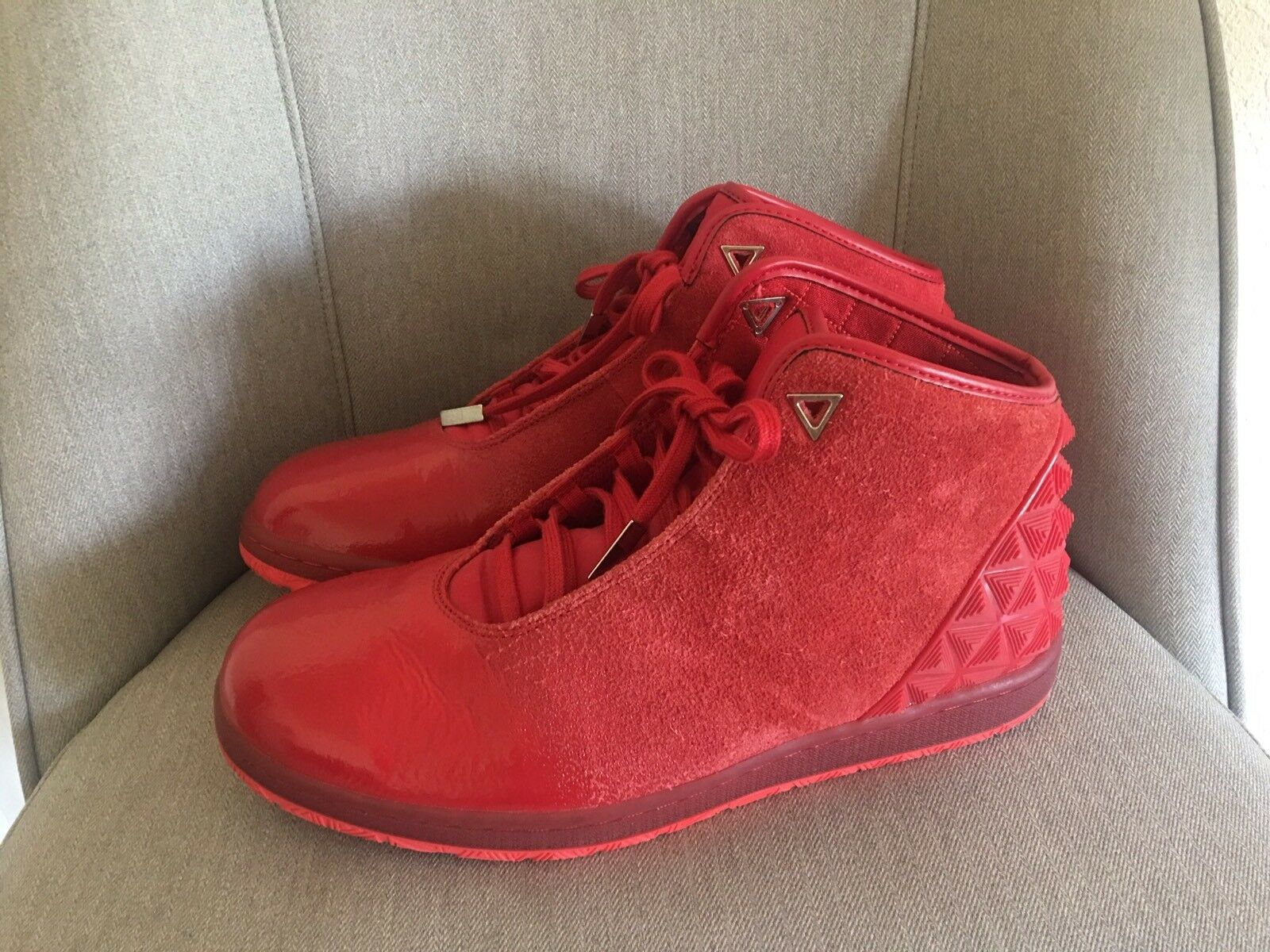 Nike Air Jordan 14 Retro Tgold Men's Red Suede Patent Leather Size 11 705076-606