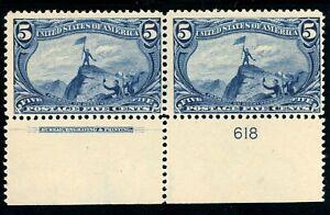 USAstamps-Unused-FVF-US-Trans-Mississippi-Plate-Imprint-Pair-Scott-288-OG-MVLH