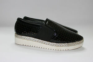 Slip-on-donna-sneakers-nere-zeppa-traforate-suola-in-corda-e-in-gomma-zeppa