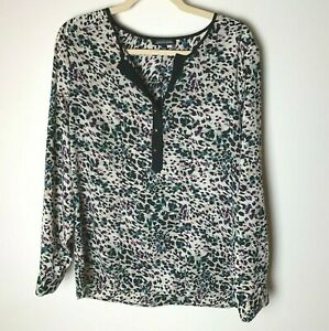Notations Women's Blouse Size Large Top Roll-Tab Sleeves Casual Work Career