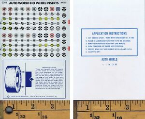 Vintage-1970-Auto-World-Slot-Car-WHEEL-INSERTS-Decals