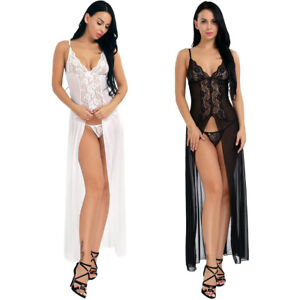 665f2ea5e78 Women s Sexy Split Lace Floral Night Gown G-string Set Sleepwear ...