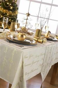 Image Is Loading New Christmas Tablecloths Wine Cream White Gold Silver