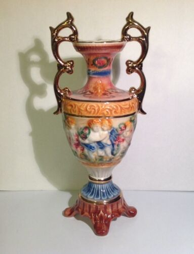 Rare Trophy Style Capodimonte Vase Italy Vintage Porcelain Cherub
