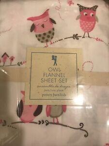 Pottery Barn Brooke Haley Owl Bird Flannel Sheet Sets