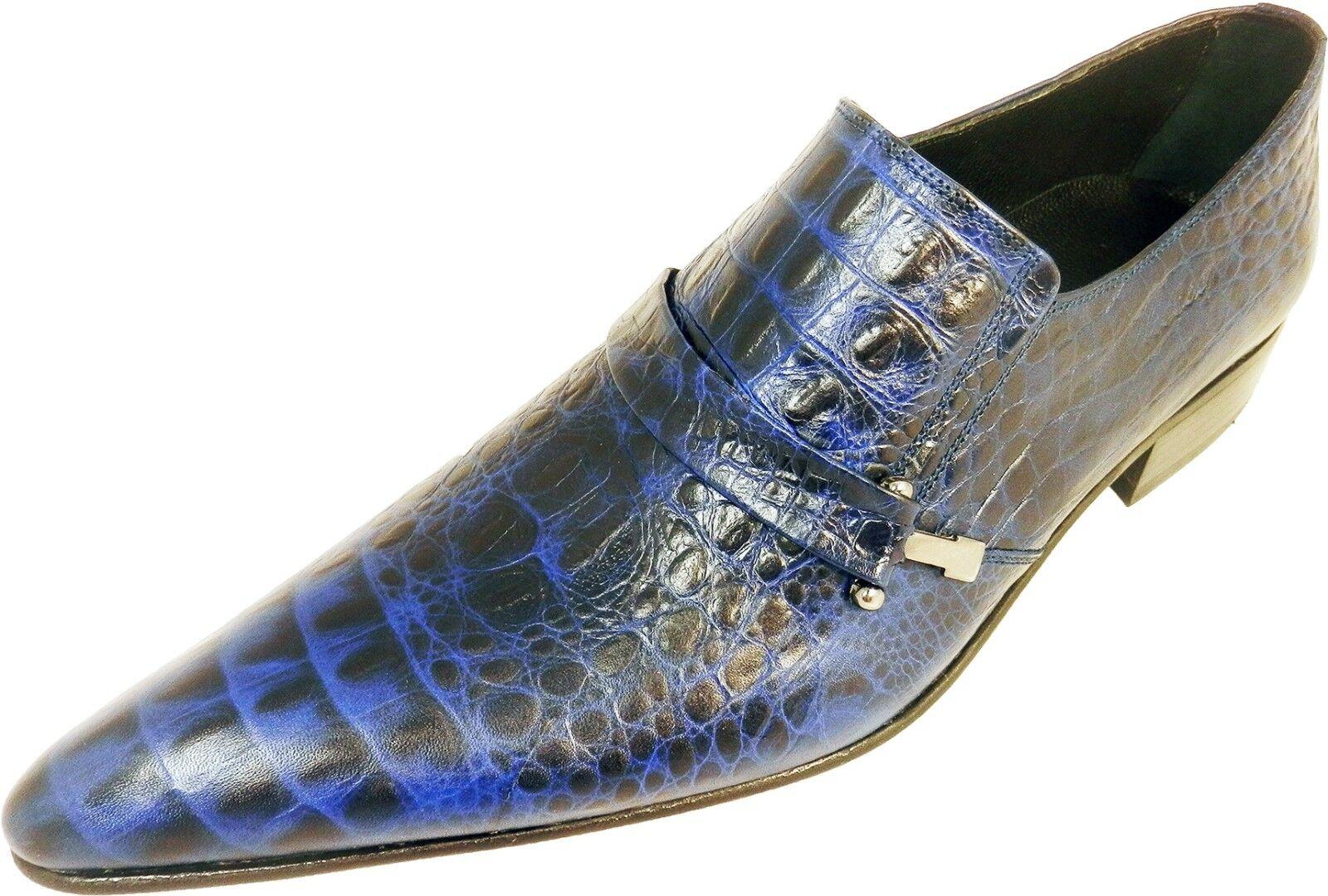 Chelsy - Italienischer Designer Slipper Krokomuster Kalbsleder handarbeit blau