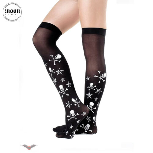 Queen of Darkness Calze con bianchi SKULLS E STELLE-Gothic Punk Rock-NUOVO