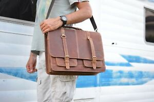 Image Is Loading Rustic Leather Satchel 17 Inch Laptop Bag