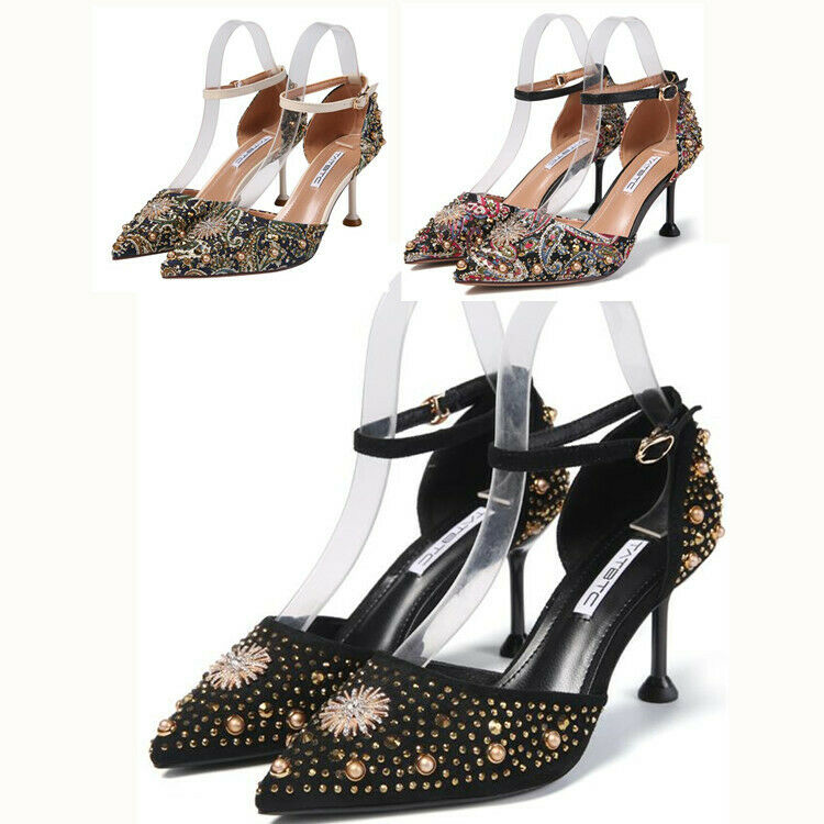 Womens Ankle Strap Pointy Toe Rivet Pearl Rhinestone High Slim Heel shoes Party