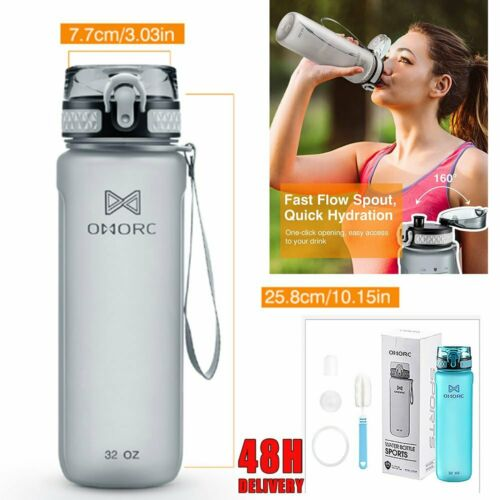 OMORC BPA Free Leakproof Outdoor Sports Fitness /& Gym Water Bottle Home 900ml