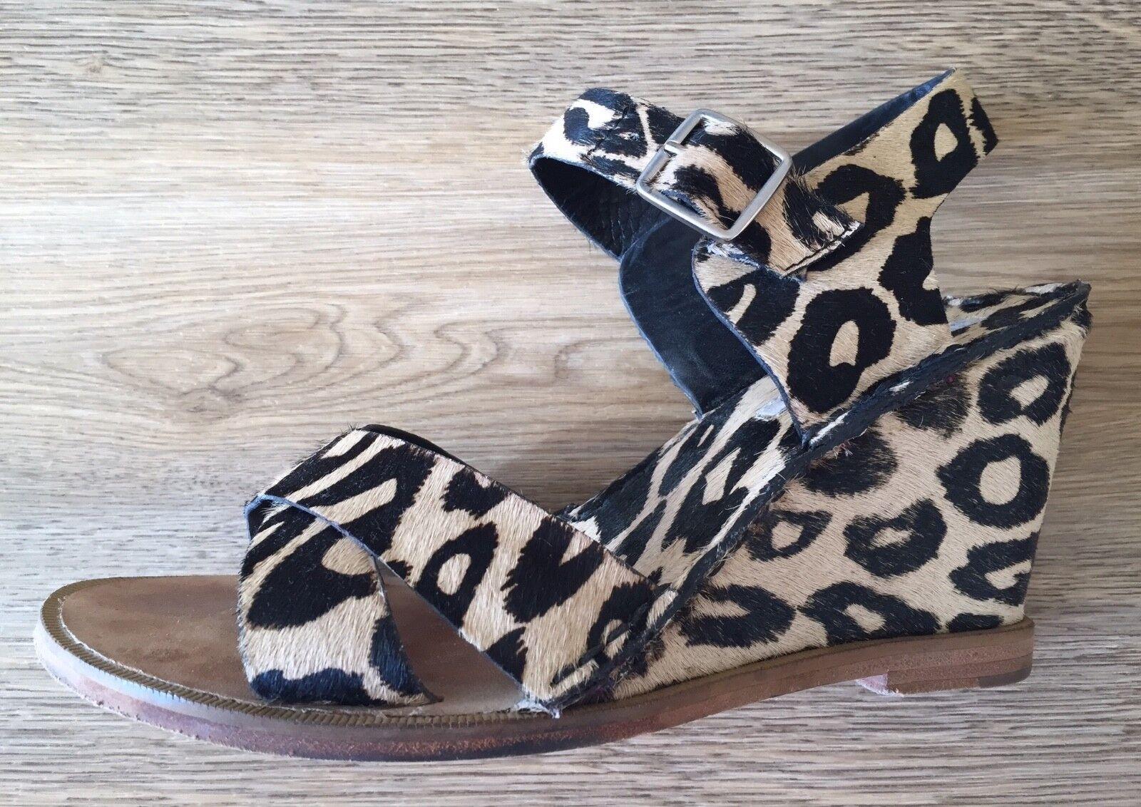 Diane Von Von Von Furstenberg Estampado de Leopardo haircalf Sandalia de cuña US7.5 381ada