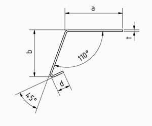 1,0 m Edelstahlwinkel 110° mit Tropfkante L 1000mm 1.4301 AUSSEN Schliff K320