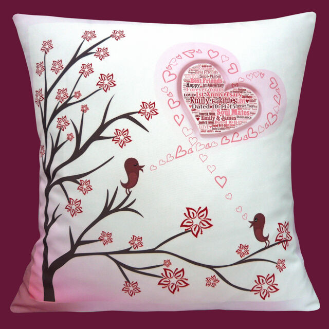 """PERSONALISED WITH YOUR OWN WORDS WEDDING, ANNIVERSARY  16"""" Pillow Cushion Cover"""