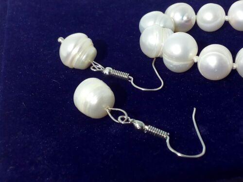 Perle Naturali Bianche Collana Braccialetto e Orecchini Gioielli Completo Parure