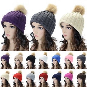 e252fd52fb035 C.C Thick Cable Knit Faux Fuzzy Fur Pom Fleece Lined Skull Cap Cuff ...