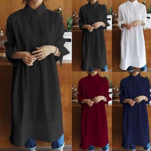 Mode-Femme-Chemise-Robe-Couleur-Unie-Revers-Asymetrique-Manche-Longue-Dresse