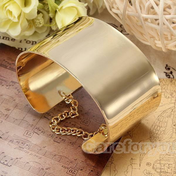 Women Shiny Gold Plated Jewelry Punk Bangle Fashion Alloy Cuff Bracelet Gift Hot