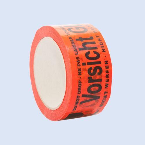 """Warnband Packband Klebeband Verpackungsklebeband /""""Vorsicht Glas/"""" 50mm 0,05€//1m"""